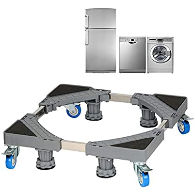 Washing Machine Stand Yonader Multi-functional Movable Adjustable Base with 4 Locking Rubber Wheels and 4 Strong Feet Size for Dryer, Washing Machine and Refrigerator