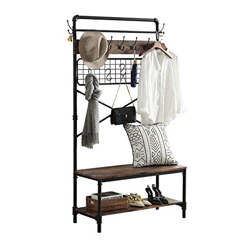HOMYSHOPY Industrial Hall Tree Shoe Bench, 5 in 1 Entryway Coat Rack with Hanging Hooks, Bench and Storage Shelf Organizer for Entryway, Mushroom and Living Room (Vintage Brown)