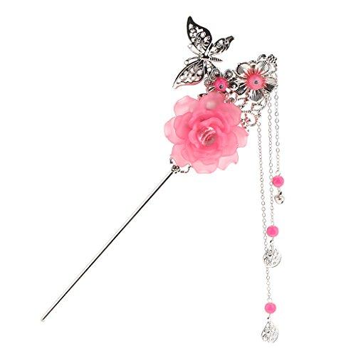 chiwanji Legierung Schmetterling Charms Stick Kanzashi Quaste Chignon Für Kimono Hanfu Pin - Dunkelpink