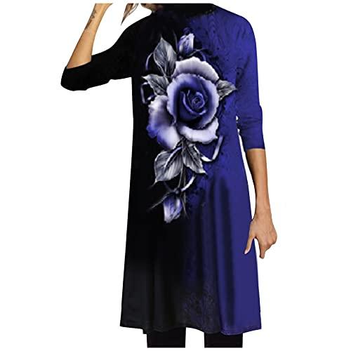 Vestido de Mujer Largo Casual Vestidos Suelto Floral Otoño/Invierno Manga Larga Elegante con Cuello Medio Alto Vestidos Maxi Dress (Azul, XXL)