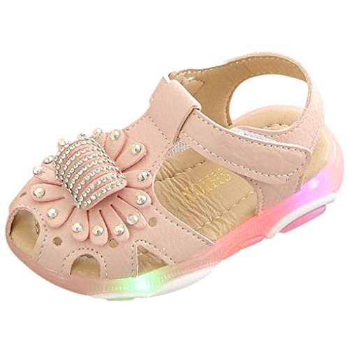 Dorical Sandalen für Baby Mädchen - LED Light Luminous Sandalen -Blume Kristall Prinzessin Leuchtend für Kinder Rutschfester Atmungsaktiv Strand Taufschuhe Festliche Party Schuhe (Rosa,24 EU)