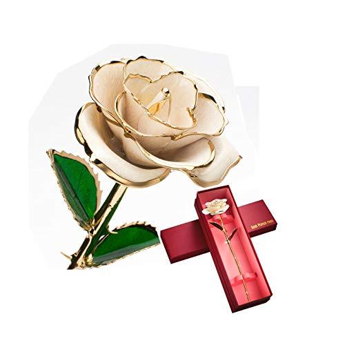 Fenwei 24k oro rosa, fiori artificiali di Champagne dell'oro della Rosa fiori artificiali for la decorazione, Golden Rose for Single, Donne sul compleanno, San Valentino, festa della mamma, Natale, Ma