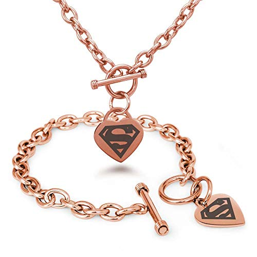 Elegant Touch Superman Symbol Superhero Charm Bracelet 925 Sterling Silver Chain Jewelry Womens/Mens 14K Gold Plated (Pink)