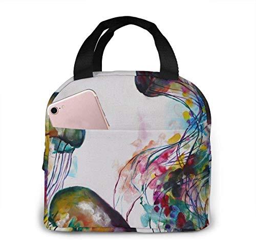 OIVLA Bolsa Térmica Watercolor Jellyfish Painting Impermeable Fiambrera Isotermica,Lunch Bag con bolsillo trasero,Para hombres, mujeres y niños