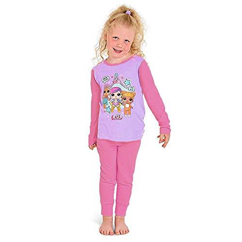 L.O.L Surprise Pigiama per Bambine in Cotone Morbido Lil Sisters Bambole (7-8 Anni, 3 Personaggi Rosa)