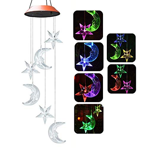 AJH lumière Solaire LED Couleur Changeante Lune étoile Carillon éolien Suspendu étanche extérieur décoratif Romantique Vent Cloche lumière