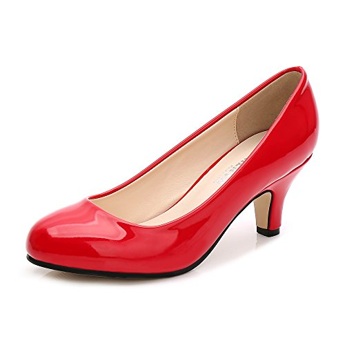 Damen Pumps Rund Kitten Heel Kleid Business Party Rot Patent Asiatisch 38/ EU 38