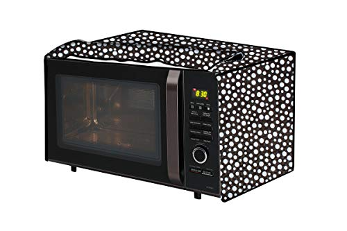 The Furnishing Tree Microwave Oven Cover for LG 28 L Convection MC2846SL Polka dot Pattern Black