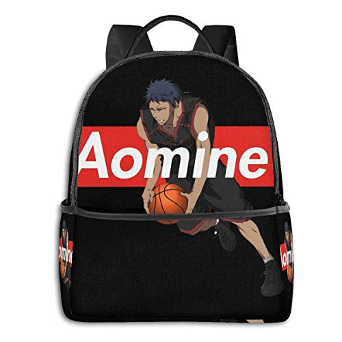 IUBBKI Mochila lateral negra Mochilas informales Anime & Box Logo Kuroko No Basket Aomine Daiki Student School Bag School Cycling Leisure Travel Camping Outdoor Backpack