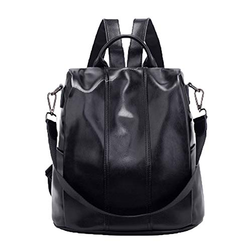 Star leather backpack with Korean version of Paragraph Fashion Oil Wax leather backpack Lady Campus retro bag backpack handbag Black Size: One Size