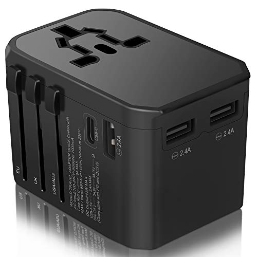 Travel Adapter,Universal Wall Charger Plug,2000W International AC Power Plug with 3 USB Ports,30W Type C PD Compatible MacBook Air,iPhone 11/11 Pro/Max/XS/X/8,Samsung S10/9/Note 10/9, for USA EU UK AU