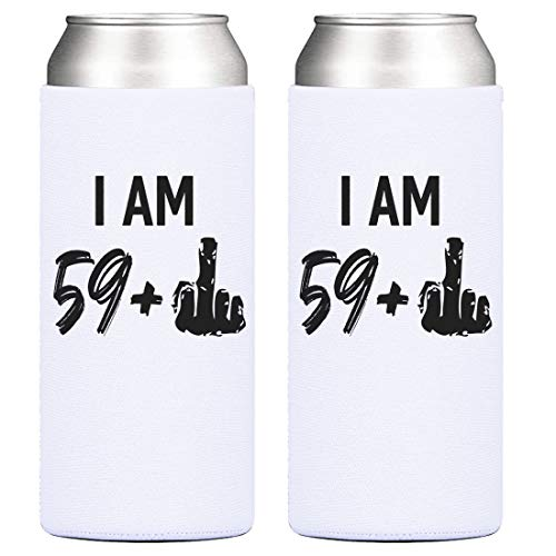 60th Birthday Party Cooler- 59 + 1 Middle Finger, 12 oz Slim Can Cooler, Gifts for Women Turning Sixty, Cheers to 60 Years – Set of 2