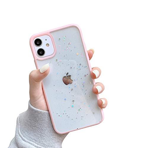 VUTR Bonita Funda con Purpurina para iPhone 12/12 Pro, Parte Trasera Transparente [Paragolpes Protectores de Lentes] Funda de teléfono con paragolpes a Prueba de Golpes para iPhone 12/12 Pro -