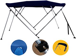 Brightent Navy Blue Bimini Top Have Free Clips 85''-90'' Width 4 Bow Boat Canopy Cover 8 ft Long Support Poles XB4N2