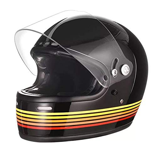 BEESCLOVER - Casco completo de moto, estilo retro, de plástico reforzado de...