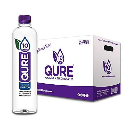 QURE Water, Premium 10 pH Ionized Alkaline Bottled Water, Silky Smooth Taste Infused with Electrolytes, 16.9 fl oz (500 mL) Pack of 24