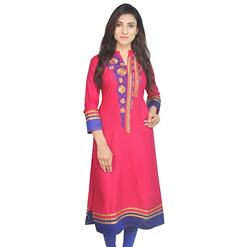 Indian Women's Embroidered Rayon Kurti Red-Blue Top By Chichi