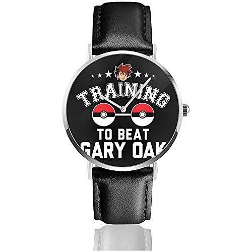 Unisex Monster of The Pocket Training para vencer a Gary Oak Watches Reloj de Cuero de Cuarzo con Correa de Cuero Negro
