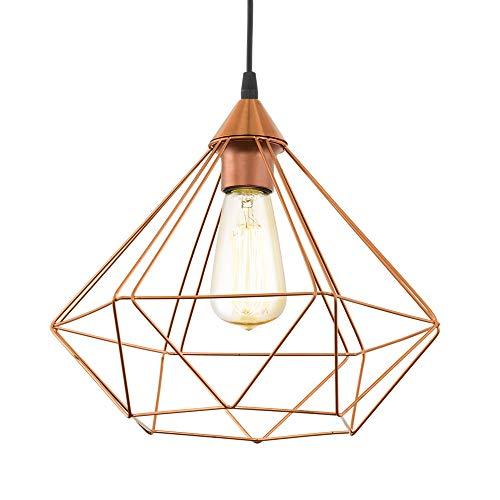 EGLO lampe pendante Tarbes, 1 flamme lampe pendante vintage en look rétro, matériel : acier, plastique, couleur : cuivre, noir, douille : E27, Ø 32,5 cm