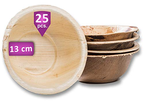 Waipur Bio Palmblattschalen - 25 Schalen Ø 13 cm / 275 ml - Premium Einweggeschirr kompostierbar - Einweg Suppenteller - Palmblatt Schalen