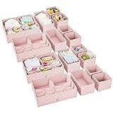 mDesign Juego de 16 Cajas organizadoras para Cuarto Infantil – Elegantes cestas de Tela para almacenaje en Varios tamaños – Organizadores para armarios de Fibra sintética Transpirable – Rosa/Blanco