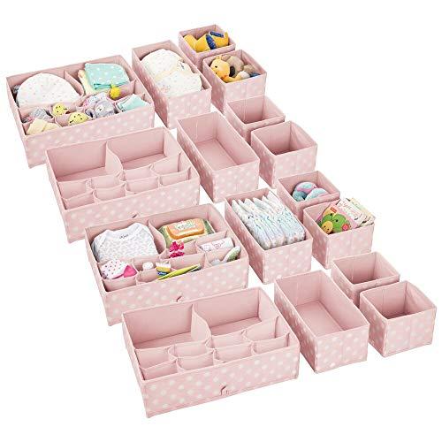 mDesign 16er-Set Kinderzimmer Aufbewahrungsbox – stilvolle Stoff Aufbewahrungskisten in verschiedenen Größen – Kinderschrank Organizer aus atmungsaktiver Kunstfaser – pinkfarben/weiß
