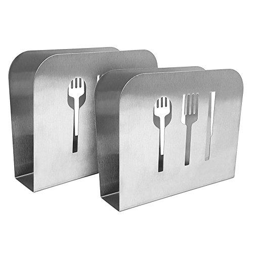 com-four® 2x Portatovaglioli in acciaio inossidabile, stuoia spazzolata, supporto per tovaglioli con decoro posate, 15 x 12,5 x 5 cm