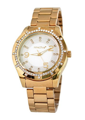 nine2five alst07glbl Mujer Lust pulsera de oro banda de esfera blanca reloj