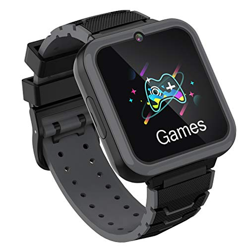 Kinderspiele Smart Watch Phone, HD Touchscreen Smartwatch für Kinder mit Musik Player Zwei Wege Anruf SOS Taschenlampe Rechner Rekorder Wecker, Geburtstagsgeschenke für 3-12Y (SCHWARZ)