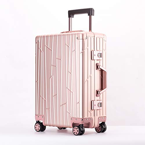 Sandy Ckingys Handgepäck Gepäck Mala Reisetasche mit Roulette 20''24''Pure Aluminium Shell Suitcase On Wheels Travel Trolley (Farbe : Rose Gold, Luggage Size : 20')