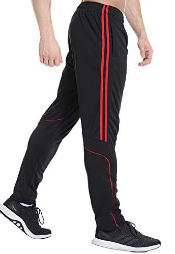 FITTOO Pantaloni Jogging Uomo Palestra Sport Casual Tuta Pantalone con Strisce Rosse, M