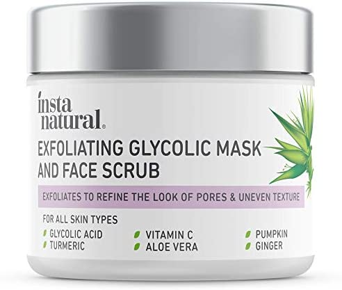 InstaNatural Exfoliating Glycolic Face Mask Facial Scrub Blackhead Treatment for Brightening product image
