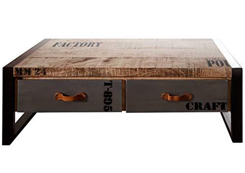 Table Basse Industrielle 115x60cm - Bois Massif de manguier Brut - Fer et Bois imprimé - Factory #128