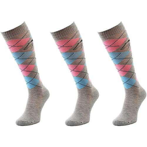 Comodo - Reitsocken Damen & Mädchen|3 Paar Lange Kniestrümpfe für Teenager|wärmende Socken perfekt zum Reiten für Kinder und Erwachsene Reitersocken SPDJ Baumwolle gr 39-42 grau|blau|pink