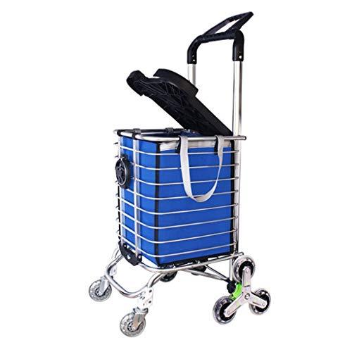 n.g. Wohnzimmerzubehör Treppensteigen Einkaufstrolley Leichte Aluminiumlegierung 8 Räder Großer Wagen Faltbarer Einkaufskorb mit Sitz/Getränkehalter in Blauer Einkaufstasche