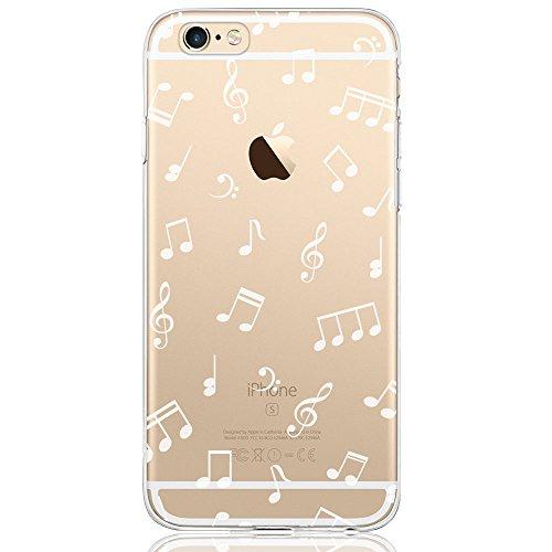 Oveo Funda iPhone 6 / 6S, Serie Dolce Vita carcasa transparente silicona para mujer/chica con diseño de Música Blanca
