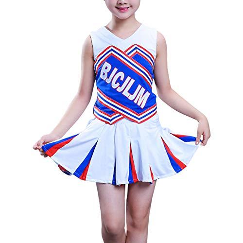 uirend Cheerleading Ropa Mujer Uniformes - Disfraz de Animadora para Mujer Deporte Porristas High School Corta Falda Traje Fiesta Baile Performance Danza Tops