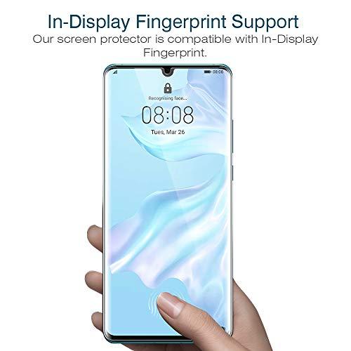 K&L LK 3 stück Schutzfolie für Huawei P30 Pro, (6.5 Zoll) [ Fingerabdruck-ID unterstützen] Displayschutzfolie Anti-Bubble [Kompatibel mit Handyhülle] HD Klar Folie - 2