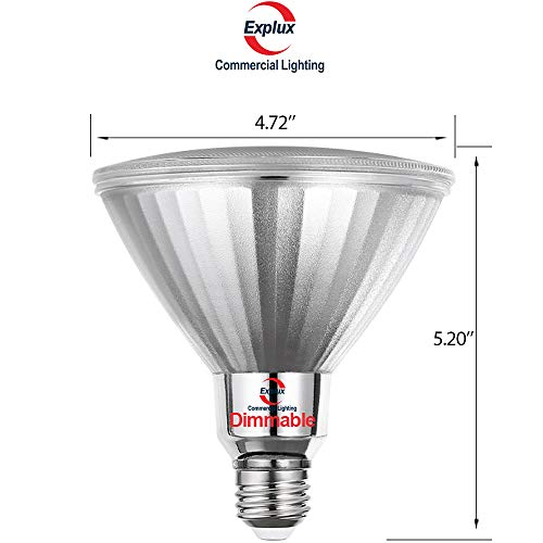 Explux PAR38 Blue LED Flood Light Bulbs, Dimmable, Weatherproof, 120W Equivalent, 2-Pack