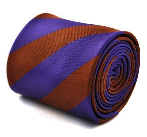 Cravate rayée Frederick Thomas cadbury violette et chocolat marron avec motif floral signature à l'arrière