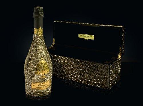 Armand de Brignac Brut Gold Strass-Edition 0,75L (12,5% Vol.) von gogoritas® made with Swarovski Elements, Strass-Flasche + Strass-Pianobox