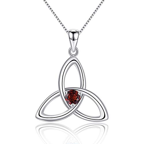 Irish Celtic Triquetra Knot 925 Sterling Silver Natural red Gemstone Garnet January Birthstone Pendant Necklace for Women Fine Jewelry Birthday Gift 16'~18'