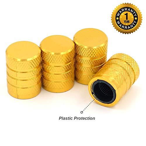 CKAuto Tire Valve Stem Caps, Golden Yellow, 4 pcs/Pack, Anodized Aluminum Tire Valve Cap Set, Corrosion Resistant, Universal Stem Covers for Cars Trucks Motorcycles SUVs and Bikes