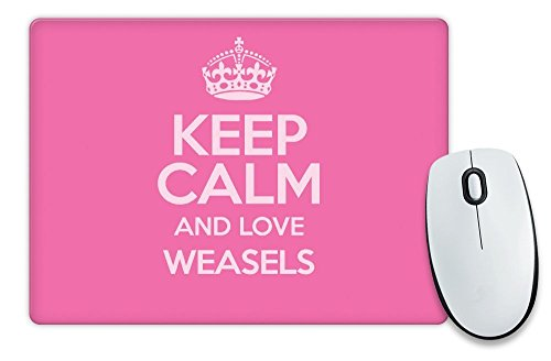 Duke Gifts PINK Keep Calm and Love Weasels Mouse Mat COLOUR 2085