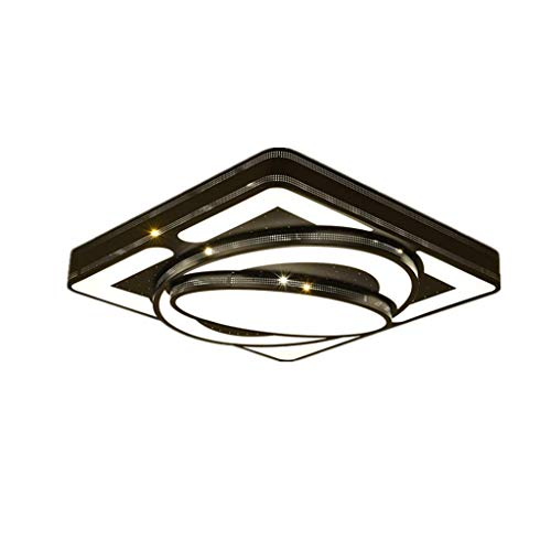 Home LED 48W Lámpara de Techo Panel de Resina acrílica Lámpara de Hierro Material del Cuerpo Lámparas de araña Atmósfera Moderna Simple Luz Colgante Cuadrada Dormitorio Lámpara Colgante Sombra Tres