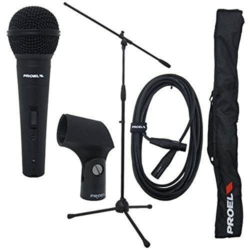 Proel PSE 3 microfoon kit: veiling microfoon, kabel, microfoonhouder en nylon tas voor transport