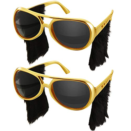 Rockstar Glasses Rock Sunglasses 50's 60's Gold Frame Costume Sunglasses (2 Pairs, Side Burns Style)