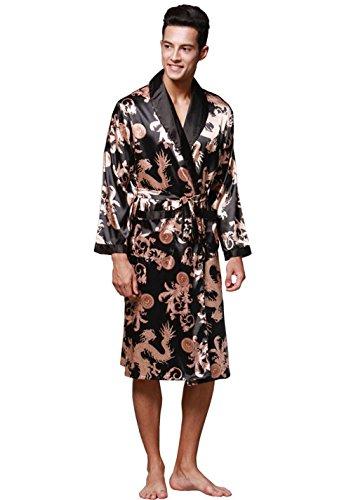Pakamo Herren Seide Pyjama Langärmelige Größe Nachthemd männlich Nachtwäsche Roben Freizeitkleidung Frühling und Herbst Bademantel Nachtwäsche, XL