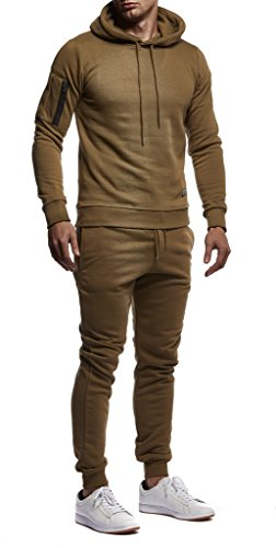Leif Nelson Gym Herren Freizeitanzug Jogginganzug Männer Lange Trainingsanzug - Jumpsuit Sportanzug Fitness Training Freizeit Kapuzenjacke Hoodie Jogginghose LN8021 Khaki Small