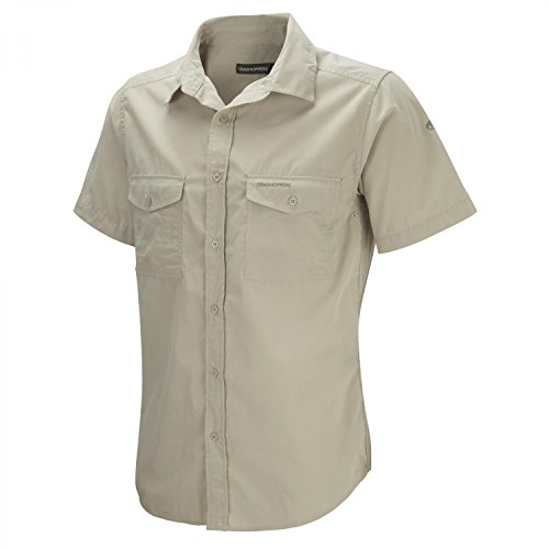 Craghoppers Herren Outdoor Reise Hemd Outdoor Reise Kiwi Kurzarm Hemd, Beige (Oatmeal), Gr. 52-54 (Herstellergröße: L)